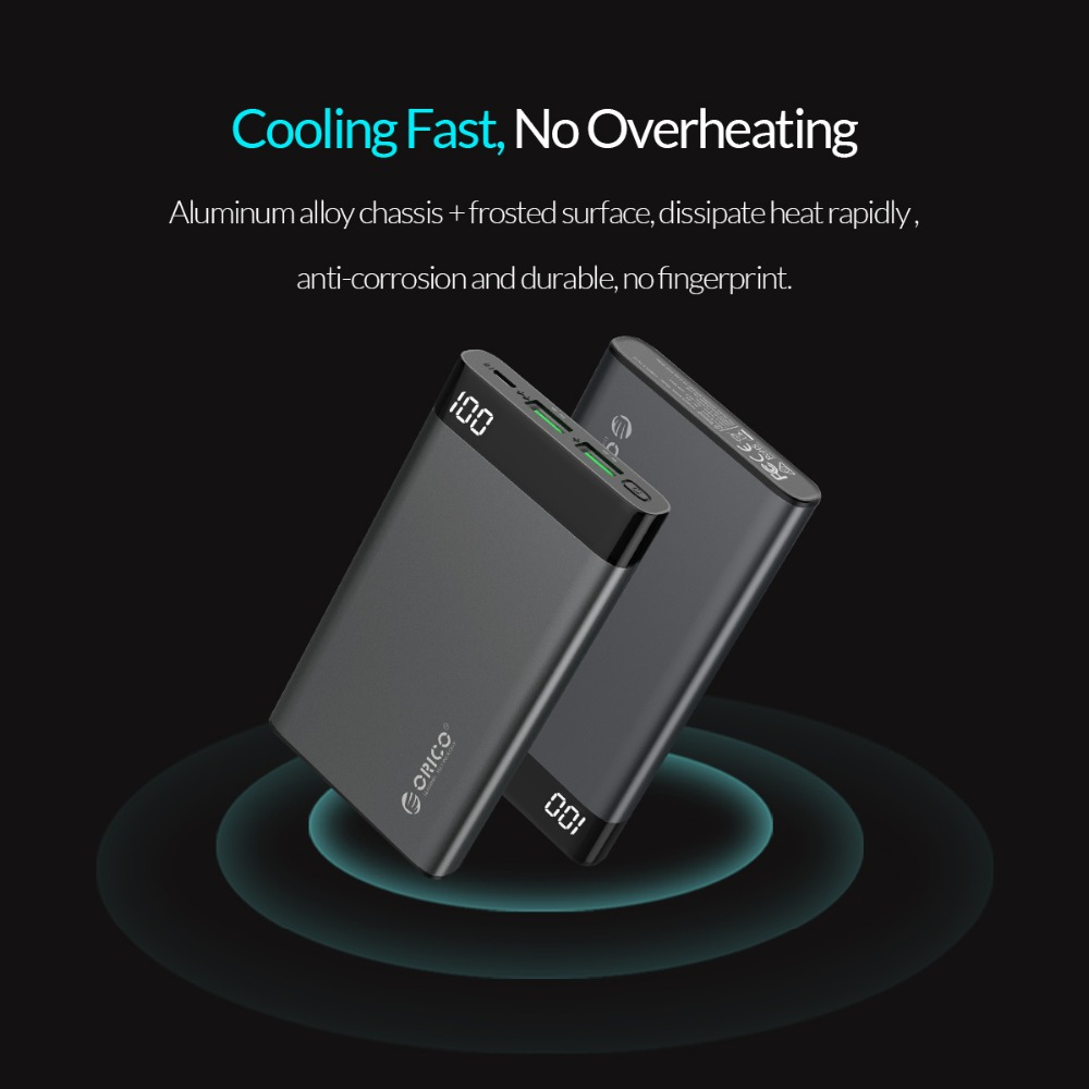 ORICO 10000mAh Power Bank Dual USB 5V2A with Display Screen Poverbank Portable External Battery Pack For Xiaomi Mobile Phone 8