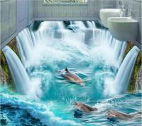 Custom photo 3d flooring mural self adhesion wall sticker Great Falls Videos dolphins to beach 3D stickers Toilets