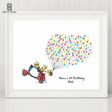 Cartoon Figure Minions Take Motorbike Canvas Free Name Date Kid's Baptism Fingerprints DIY Gestbook For Birthday Party Decor