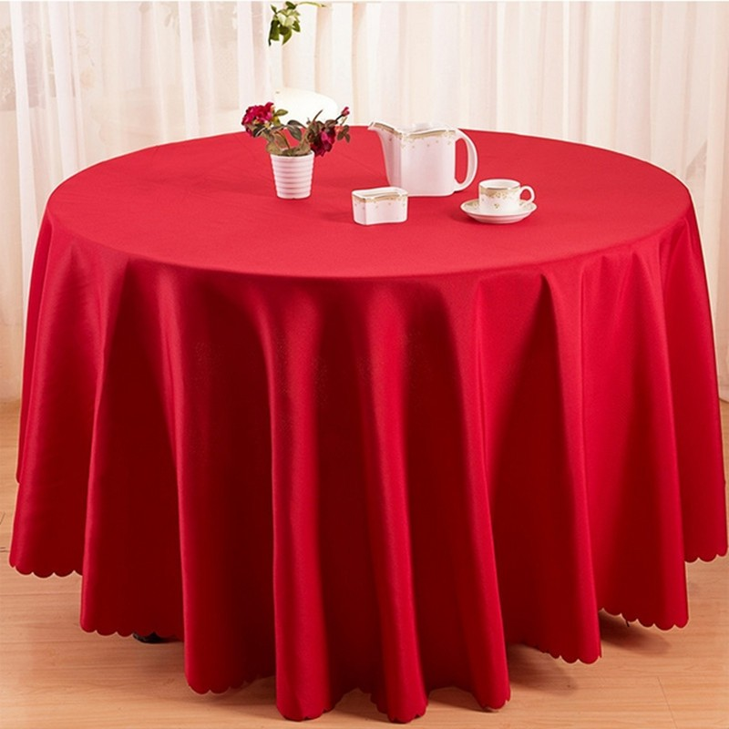 Nice 120inch Tablecloths Polyester Round Red Table Cloth Overlay Wedding  DecorationTablecloth Handmade Tablecloths Washable 10 PCS(