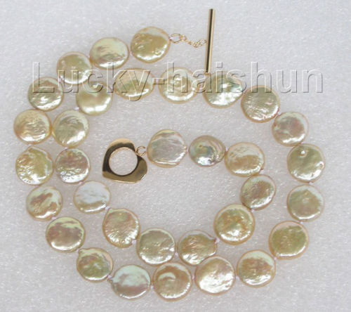 d3cb0b6f623e 10x10 joyería envío gratis genuino 17 12mm champán sujetador de La Moneda  collar de perlas de agua dulce