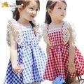 Em Venda 2016 Verão New 3-8 anos de idade meninas vestidos de Xadrez com qualidade agradável princesa vestido A152