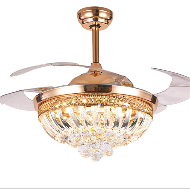 Luxury Gold Invisible Ceiling Fan Light Lamp Crystal Chandelier Home