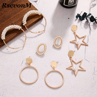 RscvonM Fashion Trendy Stunning Pearl Rhinestone Gems Hoop Earrings For Women Jewelry Fashion Statement Earrings Accessories