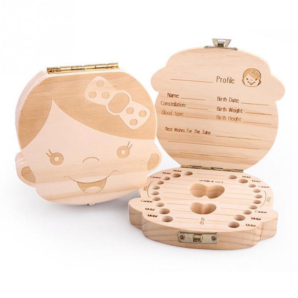 Adeeing дети мальчик и девочка зуб Коробка органайзер для ребенка сохранить молочные зубы деревянный ящик для хранения случае
