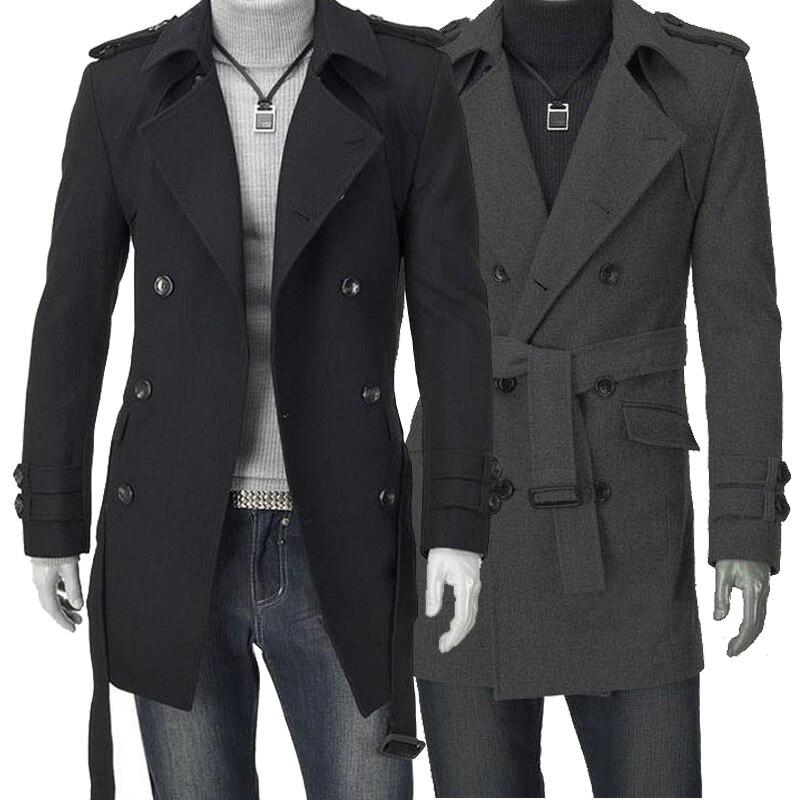 Black grey Autumn winter trench slim medium-long coats overcoat woolen men's clothing outerwear winter coat men wool coat 2XL