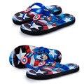 Nueva moda infantil zapatillas flip Capitán América cartoon zapatillas transpirable antideslizante niños sandalias y zapatillas