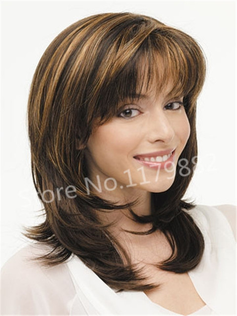 Cheap Fashion Ombre Blonde Long Layer Bangs Straight Hair Fluffy Wig