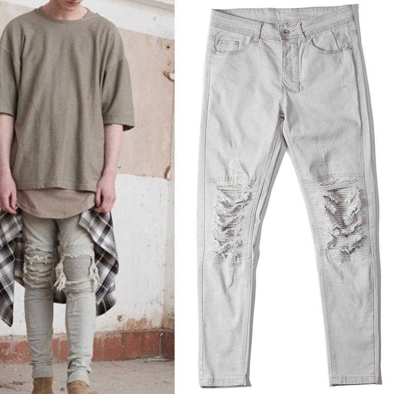 Men Jeans Slim Skinny Pencil Pants Distressed Hip Hop Swag Justin Bieber Kanye West Clothes 424