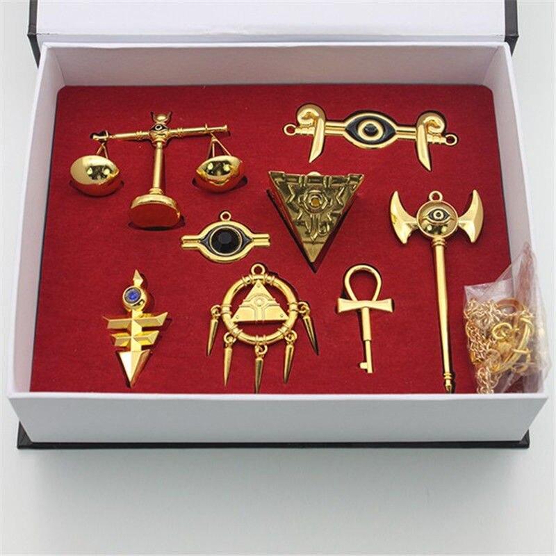 Yu-gi-oh! Duel Monsters Millennium Puzzel Ring Badge Ketting Hanger 8 Stks Set + Box Drop Ship Props Koop Nu