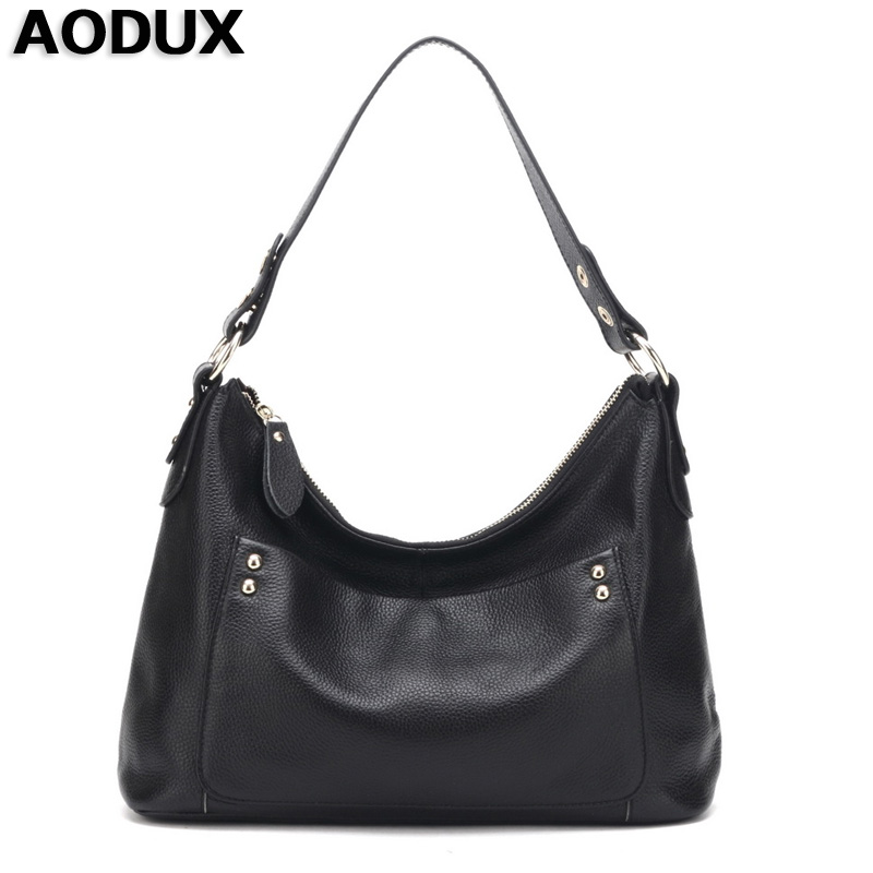 AODUX Women Girls Genuine Leather First Layer Cow Leather Women Long Strap Shoulder Bag Handbags Real Leather Messenger Bags women shoulder bag cossbody handbag genuine first layer of cow leather 2017 korean diamond lattice chain women messenger bag