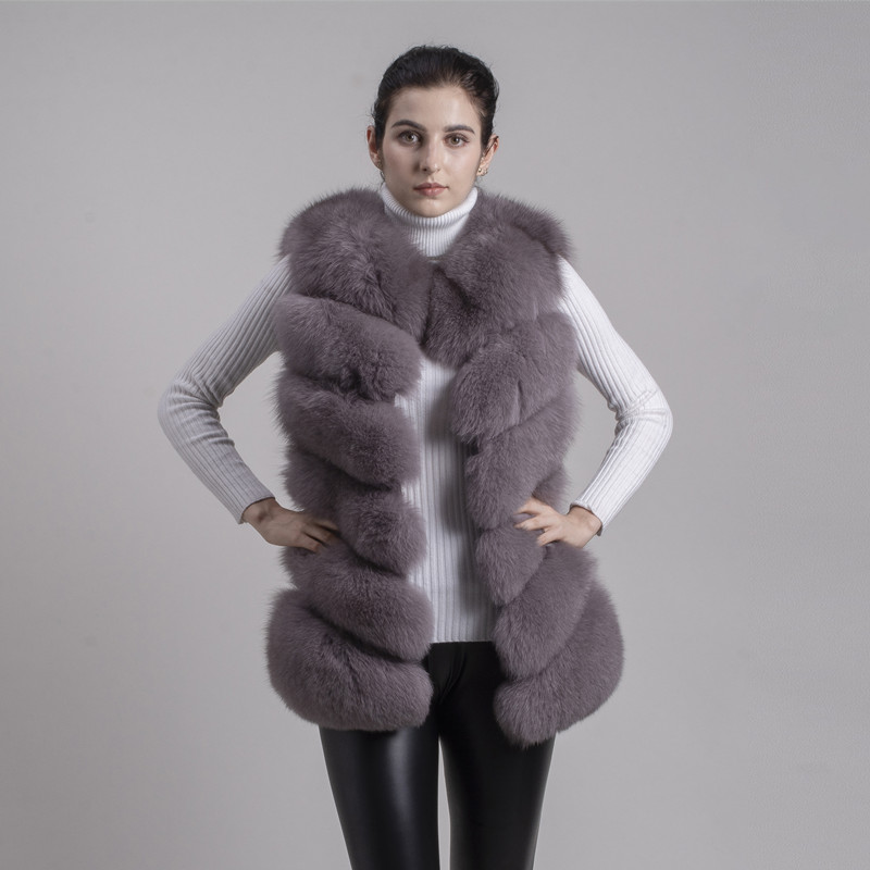 Image 4 - QIUCHEN PJ8049 2020 New arrival Hot Sale real Fox Fur Vest Authentic Fashion Perfect With High Heels Quality Solidfox fur vestfox furfox vest -