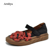 Artdiya Original Retro Flower Round Toe Shallow Mouth Women's Shoes Water-proof Platform Genuine Leather Handmade Shoes 26263