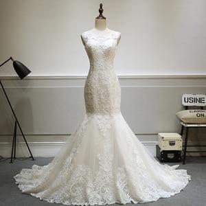 Image 3 - Elegante laço sereia vestido de casamento 2019 champanhe vestido de casamento ver através sem costas vestidos de casamento do vintage mtob1730