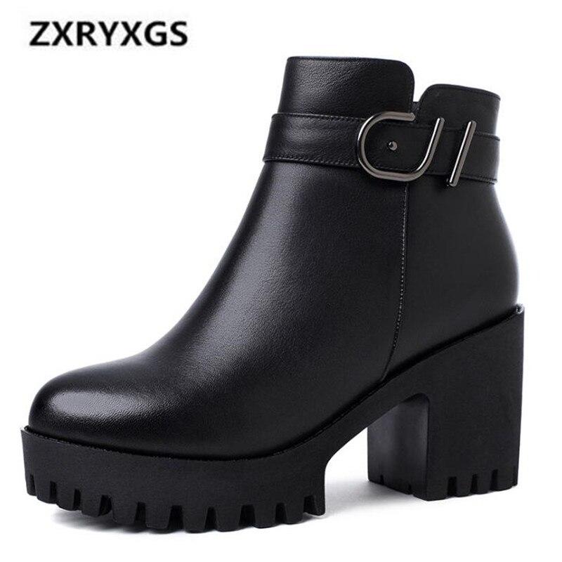 Mode Confort Black En Wool 2018 Femmes Chaud black Sauvage Chaussures Inside Cuir Martin Velvet Décoration Inside Noir Métal Vache Bottes D'hiver De Nouvelle uPXZki