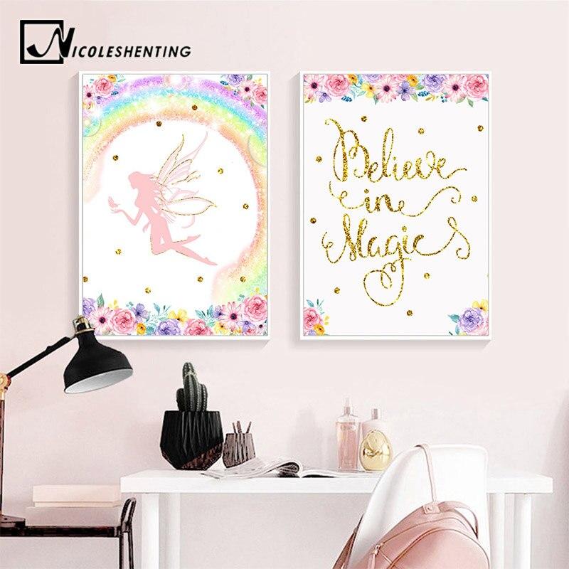 Nursery Art For Children Kids Wall Art Baby Girl Nursery Baby: Baby Girl Nursery Quotes Canvas Poster Fairy Cartoon Wall
