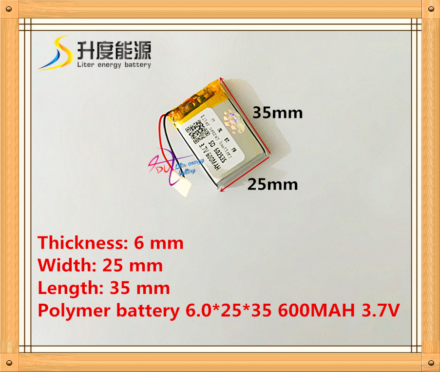 Polymer lithium battery 3.7V 602535 062535 600MAH MP3 MP4 GPS battery rechargeable batteries 3 7v lithium polymer battery 302033 100mah mp3 mp4 battery audio clip small toys