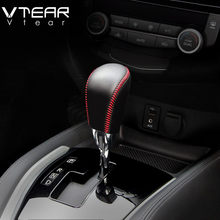 Vtear For Nissan X-TRAIL accessoris Gear Shift Collars Handbrake Grips Interior car-Styling hand brake cover Hand-stitched 17-19(China)