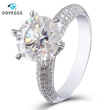 Brilliant 5ct Center 11mm F Color Lab Grown Moissanite Engagement Wedding Ring Solitare with Accents Solid 14K White Gold