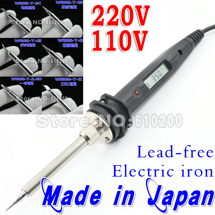 Freeshipping 220V110V Temperature Thermostatic Adjustable Leadfree Electric Soldering Substitute Soldering Station Iron Tip 6pcs