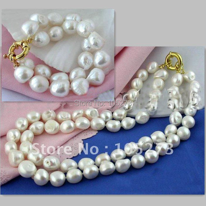 Big 2Rows Baroque AA10-15MM White Freshwater Pearl Necklace Bracelet Fashion Jewelry Set Wholesale New Free Shipping FN2151BBig 2Rows Baroque AA10-15MM White Freshwater Pearl Necklace Bracelet Fashion Jewelry Set Wholesale New Free Shipping FN2151B