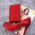Cor da moda Strass Sapatos de Salto Alto Vermelho com Saco de Harmonização de Casamento Sapatos de Festa Bombas de Baile de Cinderela Vestido de Noiva Sapatos