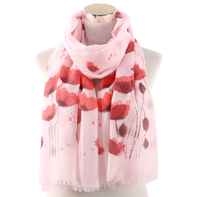 Winfox White Pink Red Floral Printed Scarf Female Scaves Stole For Women Ladies Muslim Hijab pink random floral printed jacket