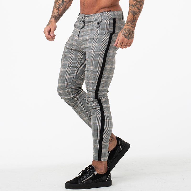 GINGTTO Mens Chinos Trousers Grey Plaid Chinos Skinny Pants For Men Side Stripe Stretchy Best Fitting Athletic Body Building 359