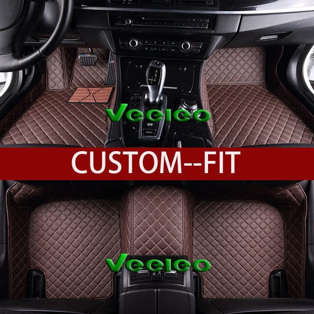Veeleo 8 Colors Leather Car Floor Mats for BMW X3 -F25 -2011-2017 Car Mats Waterproof Anti-slip Liner Front & Rear Carpets