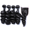 Peruvian Virgin Hair With Closure Silk Base Closure With Bundles 7A Loose Wave 2/3/4 Human Hair Weave Bundles With Lace Closures