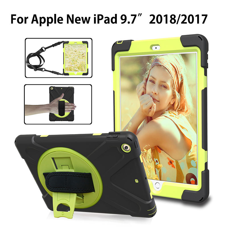 Case For Ipad 9.7 2017 A1893 A1954 6Th Generation Cover Kids Safe Shockproof Heavy Duty Silicone+PC Wrist+Shoulder Strap
