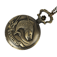 цена на Unique Bronze Fishing Sculpture Pocket Watch for Men Women Necklace Fob Chain Steampunk Clock Quartz Retro Pocket Watches Gifts