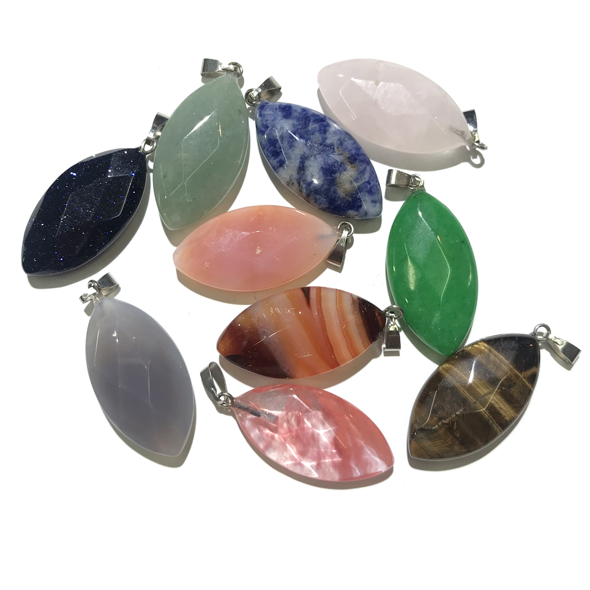 Natural Stone Pendants Crystal Agates Necklace Pendant For Jewelry Making Good Quality Size
