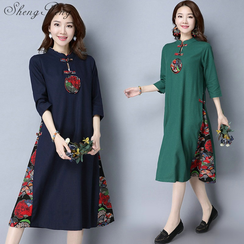 Retro style Chinese oriental dresses modified cheongsam modern qipao dress female long cotton qipao dress CC044