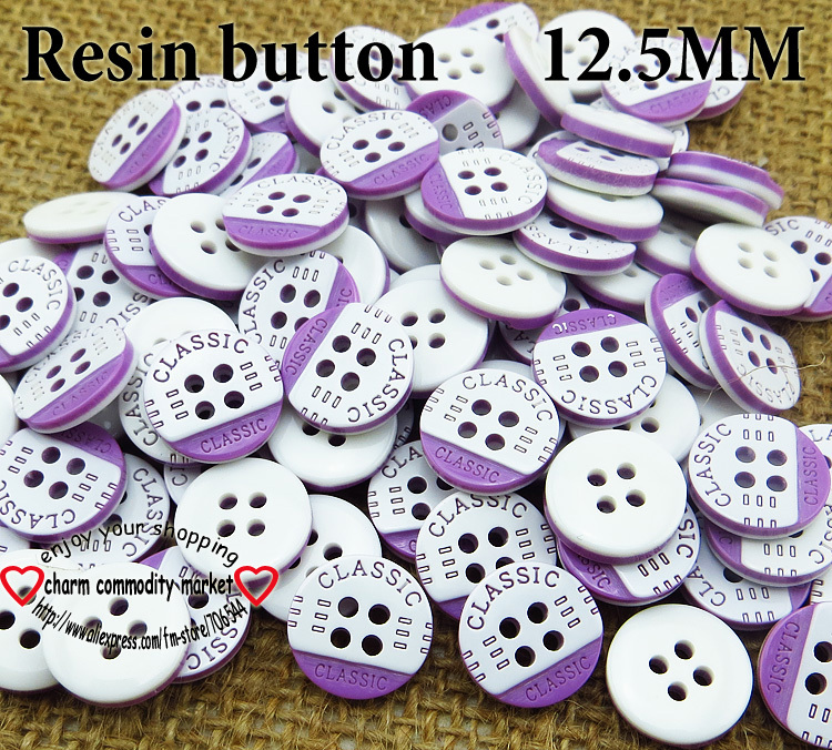 100PCS 12.5MM purple stripe Dyed RESIN buttons coat boots sewing clothes accessories R-056