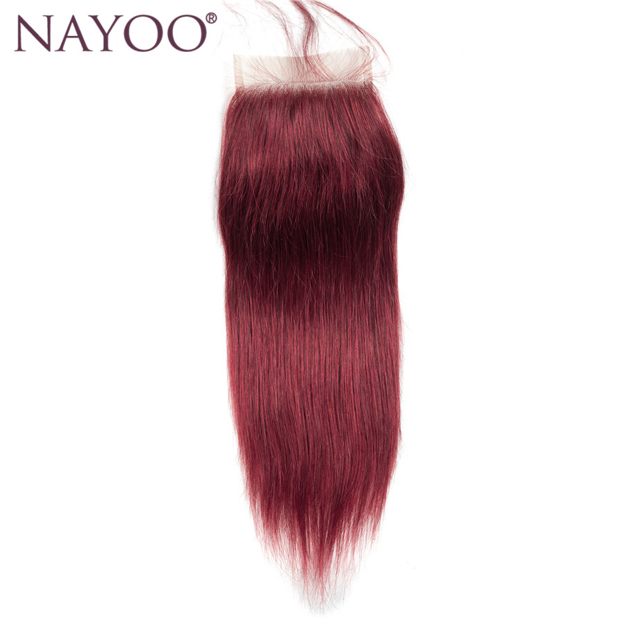 NAYOO Brazilian Straight Hair Lace Closure 99j Non Remy Human Hair Closure Free Part Closure with Baby Hair 10-20