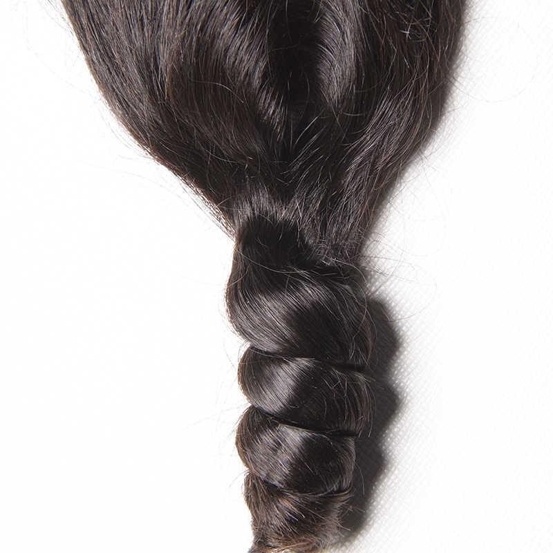 Karizma Cierre de onda de encaje suelto 4*4 100% cabello humano Remy Color Natural 8-20 pulgadas parte media 1 pieza solamente