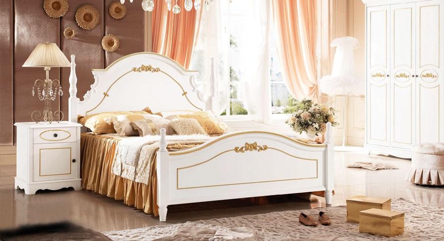 Baroque style golden kids bedroom set kid solid wood decorative furniture bed wardrobe desk Unfinished childrens bedroom furniture