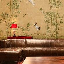 Роскошная ручная роспись Серебряная Золотая фольга обои живопись цветы с птицами и бамбуком много узоров и фона опционально