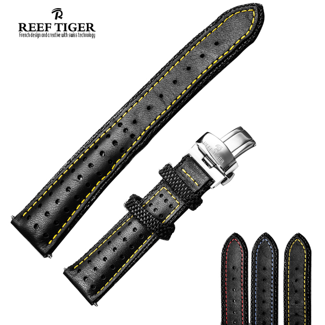 Recife dos homens do tigre Design durável genuíno couro faixa de relógio para espaço Noddle