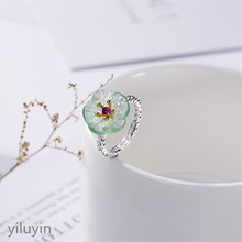 KJJEAXCMY boutique jewelry S925 pure silver inlaid natural green fluorite, plum blossom, fresh and wild lady, opening ring ring. s925 pure silver wholesale contracted only beautiful lady topaz st2018 set of chains pure and fresh and euphemism
