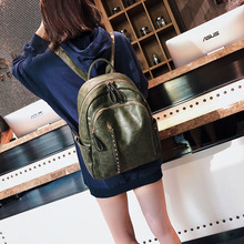 Vintage Women Leather Backpack Brown Rivets School Bag For Girls Female Large Black Backpacks High Quality Travel Bags New