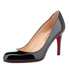 Bc frauen sexy schwarz pleather runde kappe high heels pumps schuhe für frau, rote untere hohe absätze, plus größe 5-14