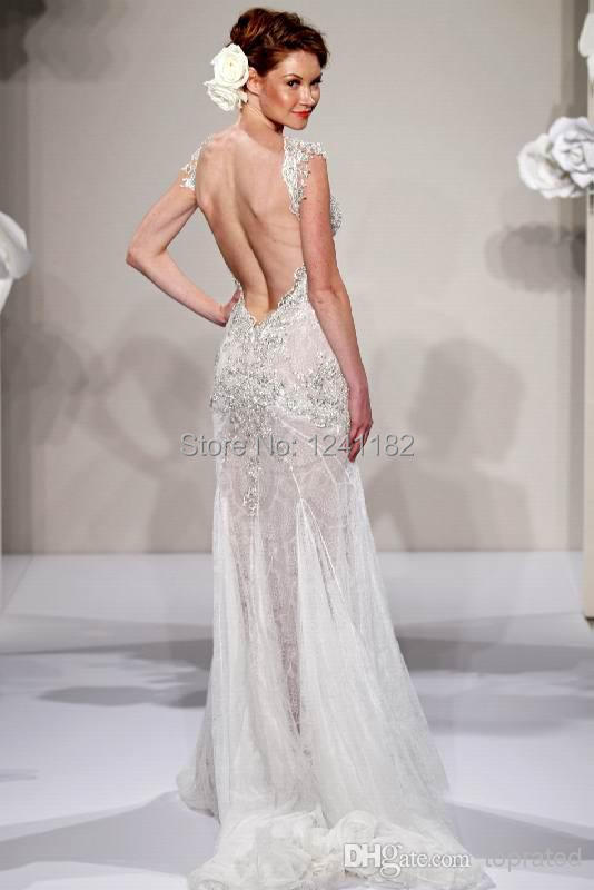 2014 New Pnina Tornai Sheath Wedding Dresses Bridal Gown With Sheer V Neck Backless Applique Beads Lace Crystal Sweep Train In From Weddings