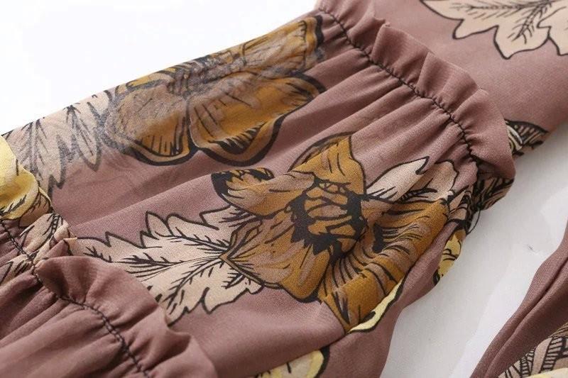 women dress Autumn winter long sleeve ruffle chiffon dress Vintage loose short dress Boho floral print tassel vestidos 23