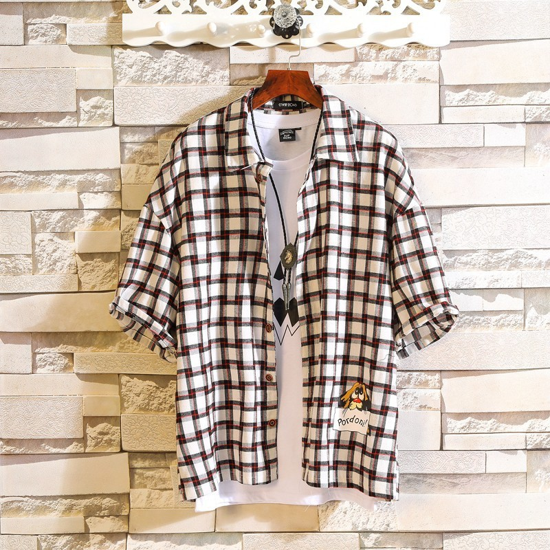 0135 Summer Plaid Shirt Men Yellow Cotton Short Sleeve Casual Shirt For Men High Quality Loose Streetwear Shirt Unisex in Casual Shirts from Men 39 s Clothing