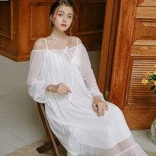 Cute Princess Pyjamas Two-Piece Female Spring Bud Silk Yarn Sexy Court Retro Sleeping Dress Womans Sleepwear Nightgowns HZL61