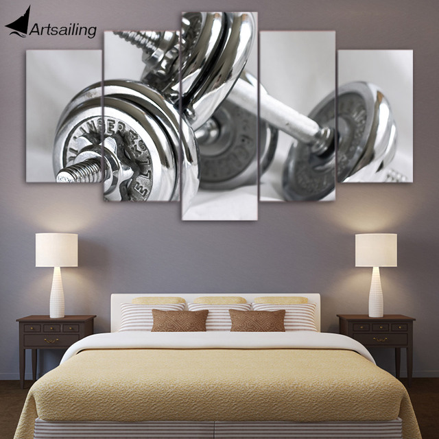 5 Piece Canvas Painting Wall Art Gym Dumbells Poster Fitness Equipment Home  Decor Wall Pictures For