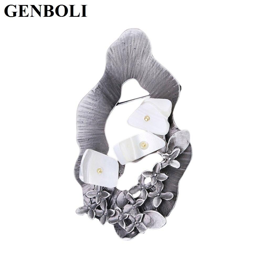 GENBOLI European American Fashion Women Vintage Alloy Brooches Pins Flowers Decoration font b Wedding b font