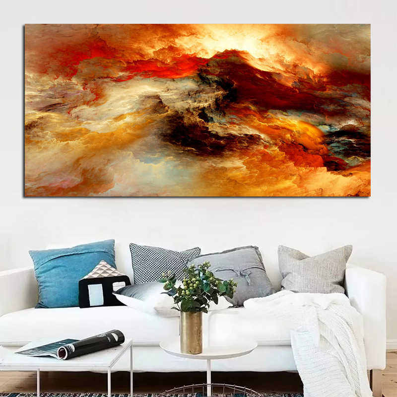 RELIABLI ART Abstract Oil Painting Yellow Clouds Posters and Print Wall Art Canvas Pictures For Living Room Unframed
